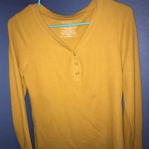 Mustard 1/3 Button T-shirt